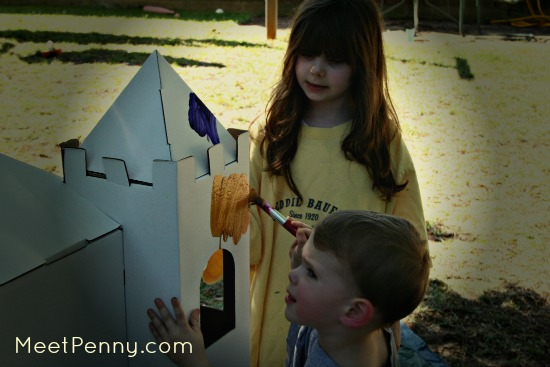 painting a cardboard castle and additional resources for creating a castle unit study