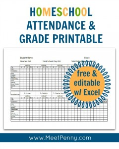 Free homeschool attendance and grades spreadsheet you can edit in Excal or download from drive to print