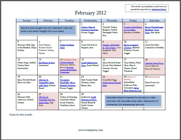Free Printable February Menu with Recipe Links