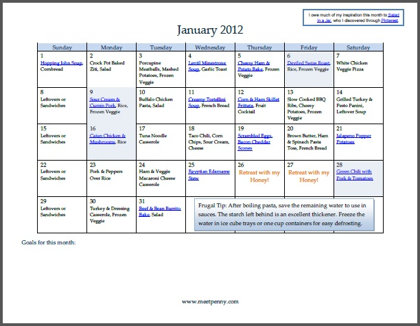 Free Printable January Menu Plan