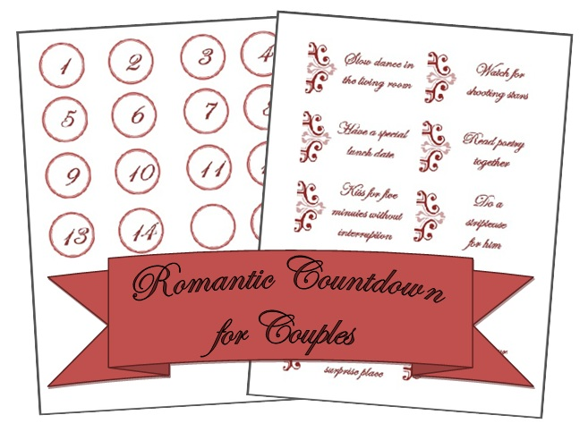 A Romantic Countdown for Couples ~ Free Printables
