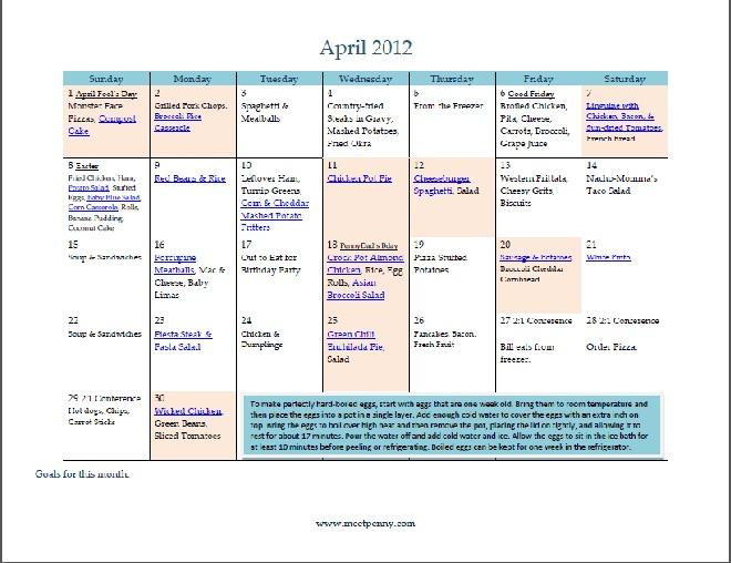 Free Printable April Menu (with Planner)