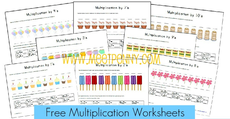 free multiplication worksheets fact cards with visual cues meet penny. Black Bedroom Furniture Sets. Home Design Ideas