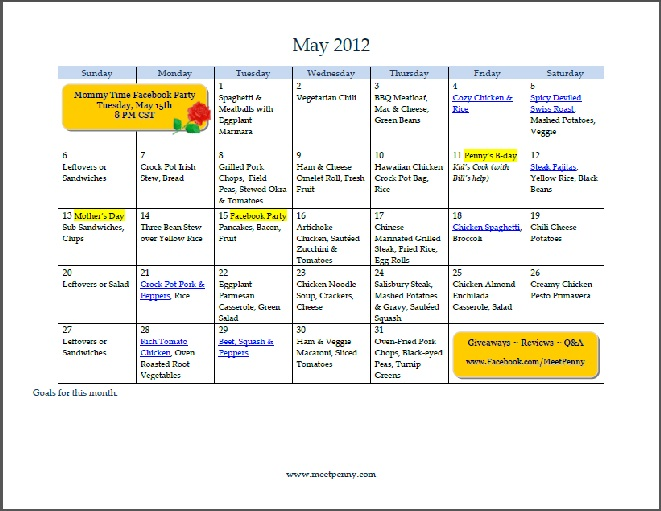 Free Printable May Menu (with Blank Planner)