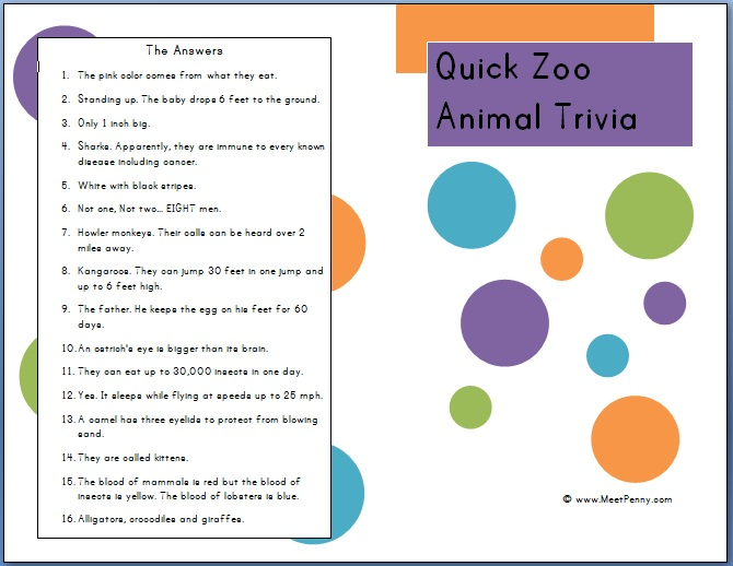 image about Printable Trivia for Kids referred to as Effortless Information for Your Zoo Marketplace Family vacation (Cost-free Printable Zoo