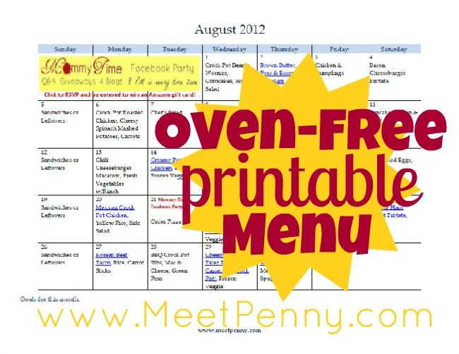Free Printable August Oven-Free Menu (& Blank Planner)