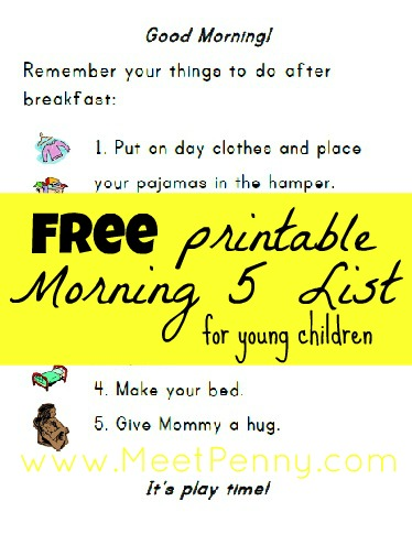 Morning Five things to do for young children