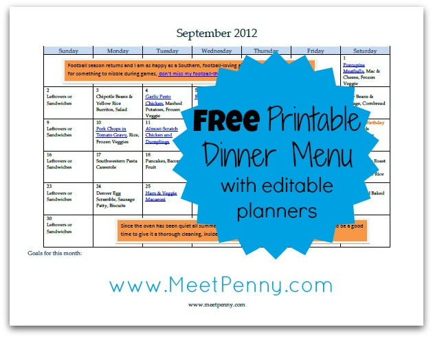 Free Printable September Menu (with Editable Planners)