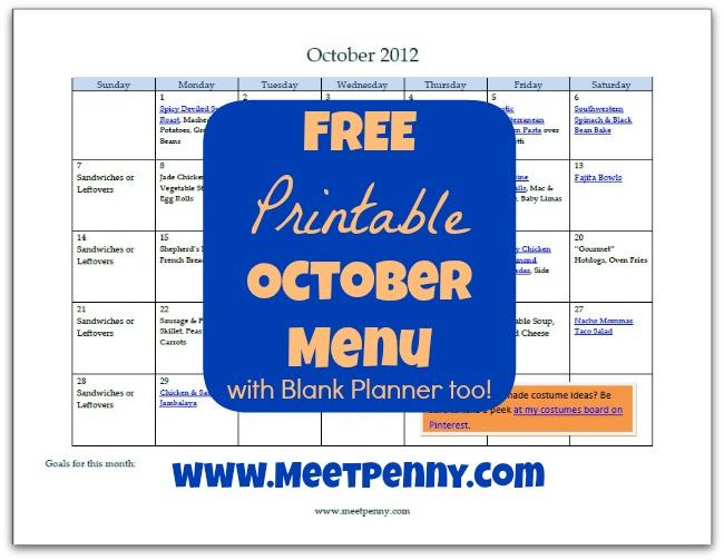 Free Printable October Dinner Menu (with Blank Planner)