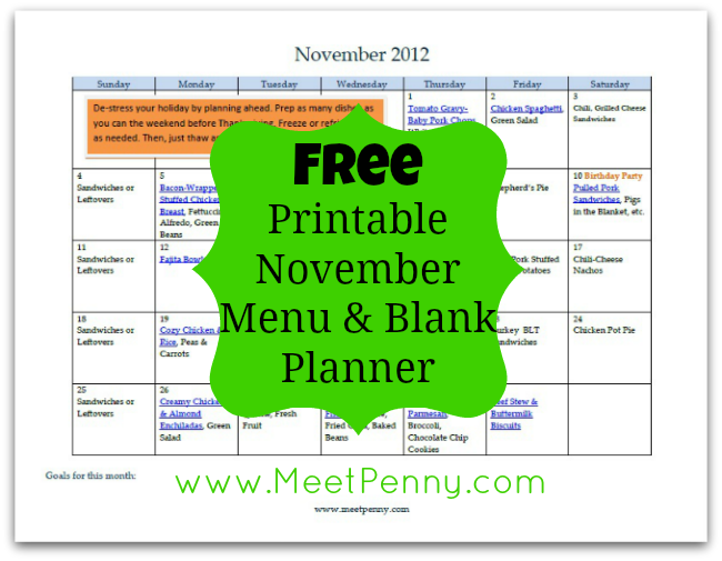Free Printable November Menu with Blank Planner