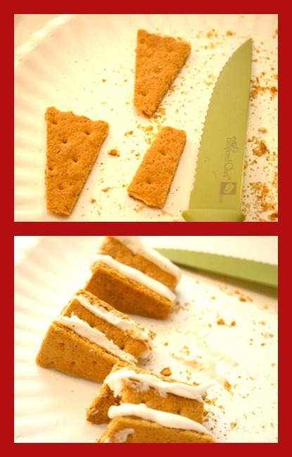 Making a homemade gingerbread house from graham crackers - creating the chimney