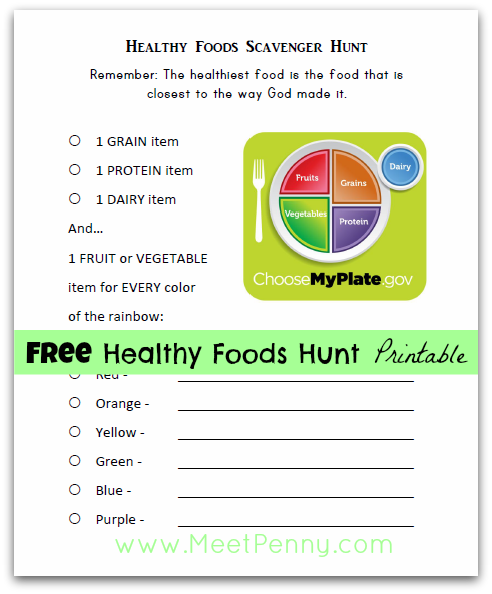 free nutrition lesson printables