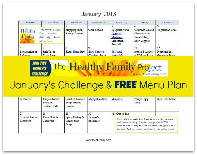Free Printable January Dinner Menu (with Links)