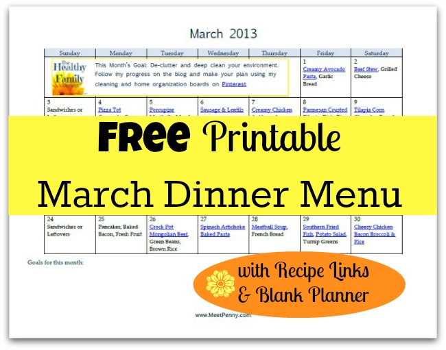 Free Printable March Dinner Menu with Recipe Links