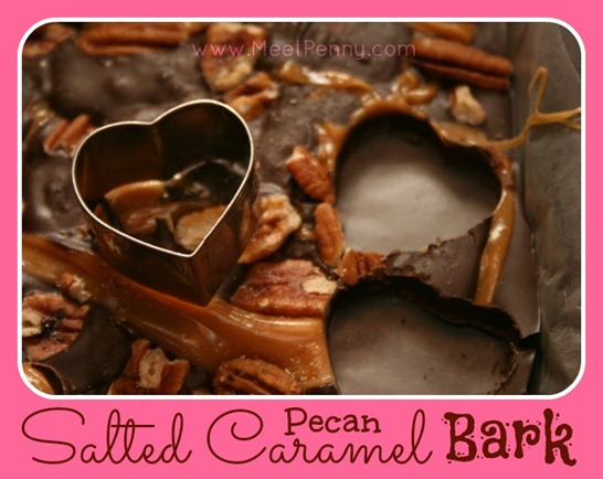 Salted Caramel Pecan Bark recipe at www.MeetPenny.com