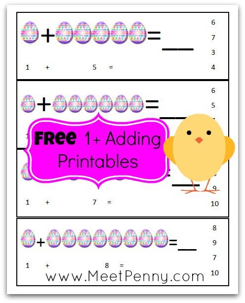 Free printable Easter adding worksheet