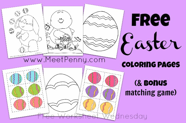 Free Easter Coloring Pages and Matching Game Printables