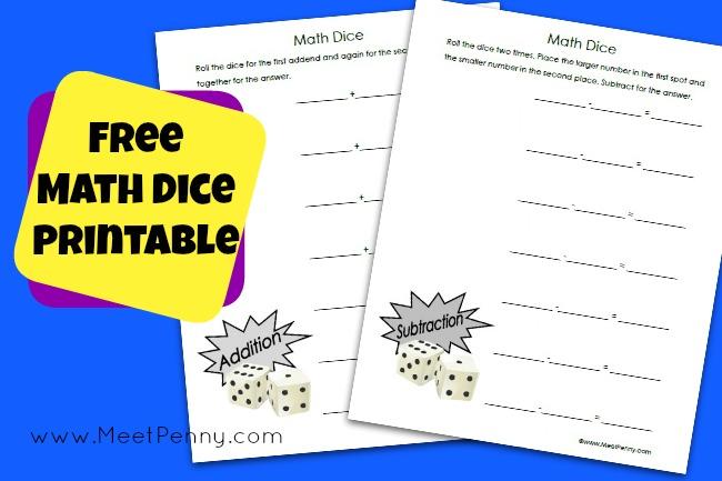 Free printable math dice worksheet at Free Worksheet Wednesday