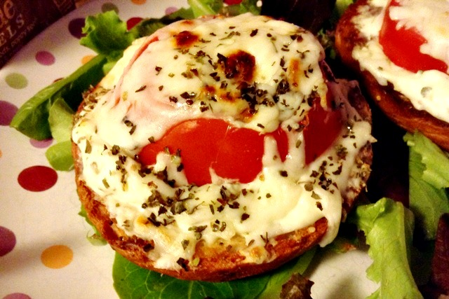 Caprese Bagel - Garlic Cream Cheese, tomato, and broiled mozzarella on a Udi's Gluten Free Everything Inside bagel