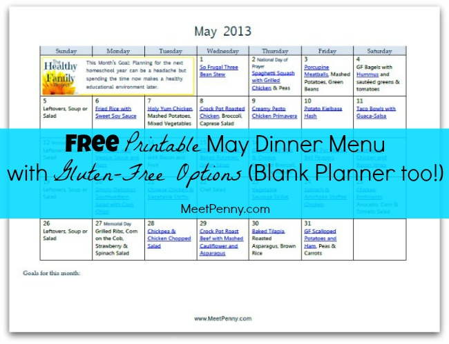 Free Printable May Dinner Menu (with Gluten Free Option)