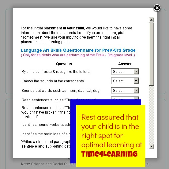 Time4Learning Skills Questionaire