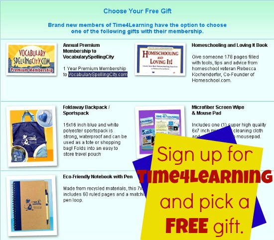 Sign up at Time4Learning for a free gift