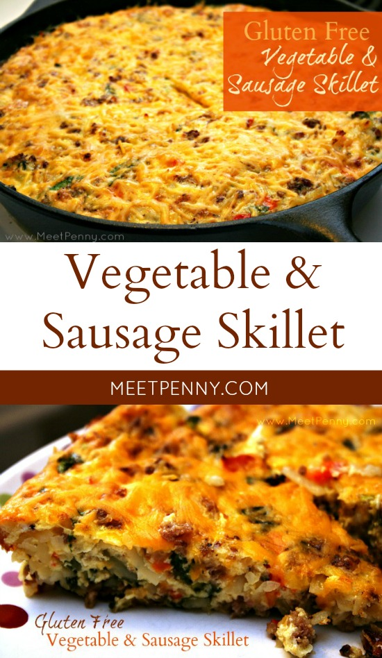 Like a frittata. Starts on the stove top but finishes in the oven to give time to prepare a side dish (or just read a magazine). This vegetable sausage skillet is hearty and delicious!