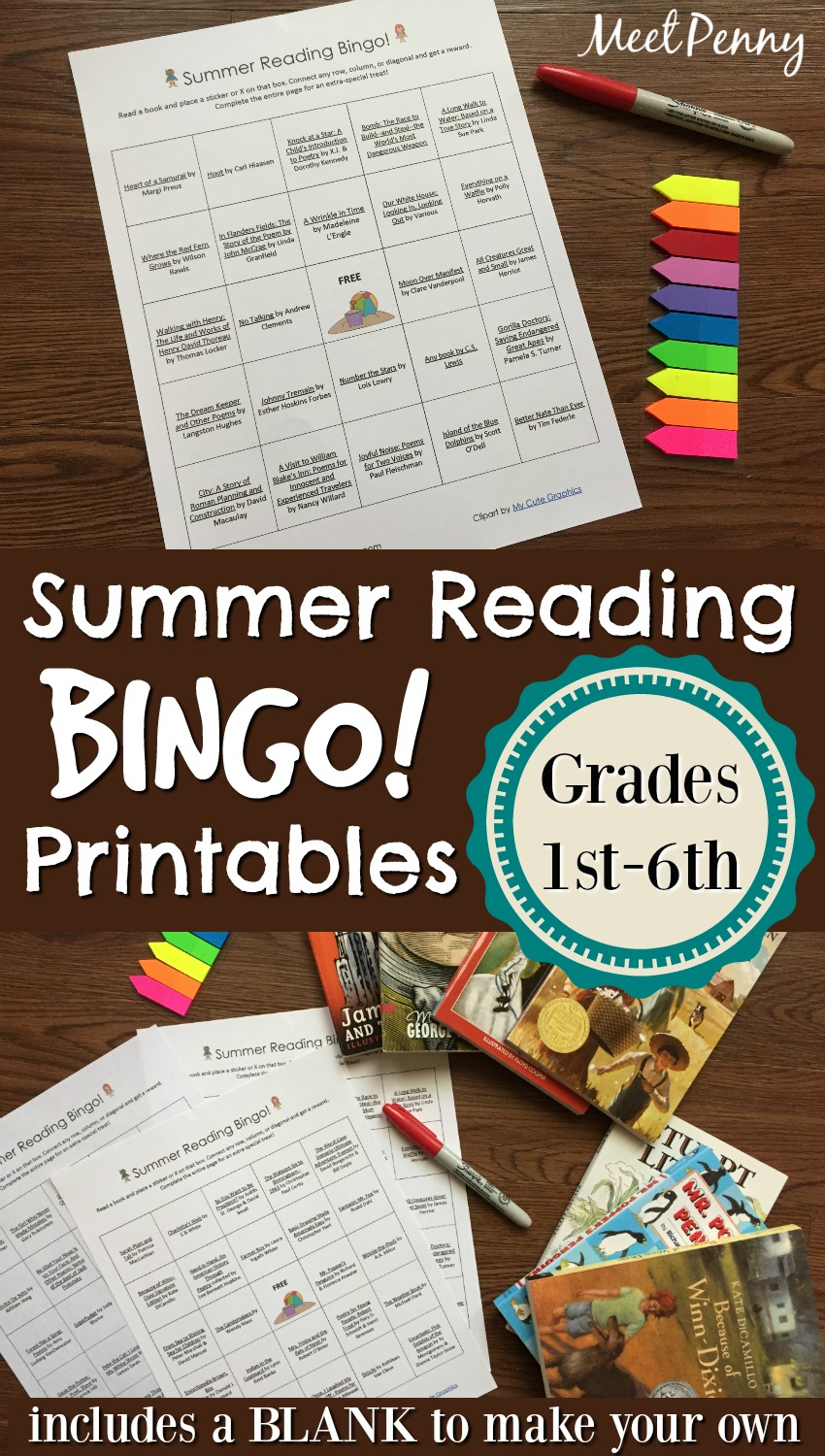 Summer Reading Bingo Printable (1st through 6th grades)