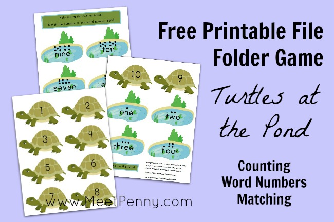 Turtles at the Pond File Folder Game