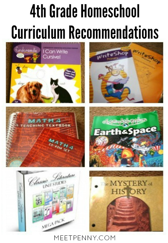 Click to view our 4th Grade Homeschool Curriculum suggestions