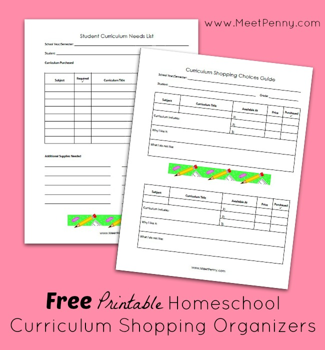 Homeschool Curriculum Shopping Organizers