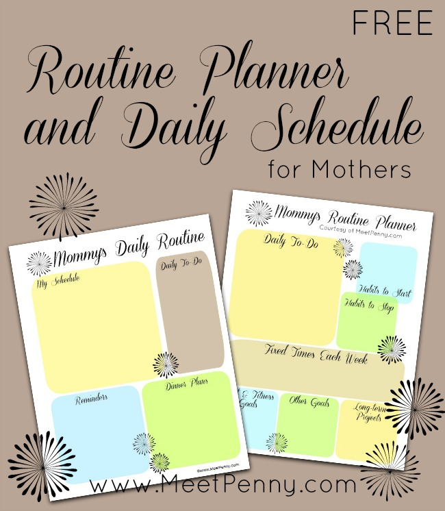 Free Printable Planner for Mommy's Routine