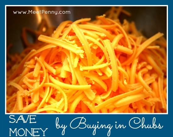 save more money on groceries by buying cheese in chubs