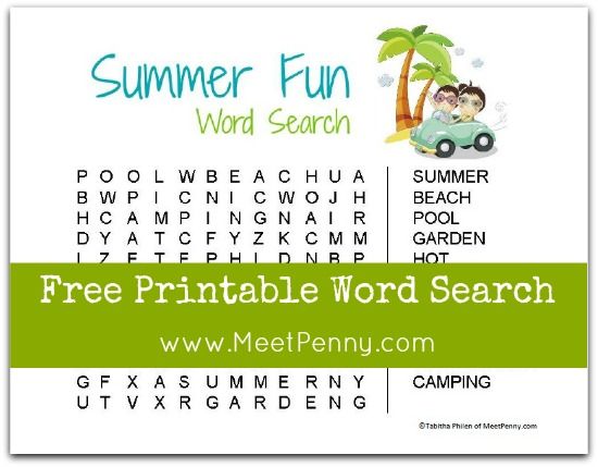 This is a picture of Summer Word Search Printable regarding beach