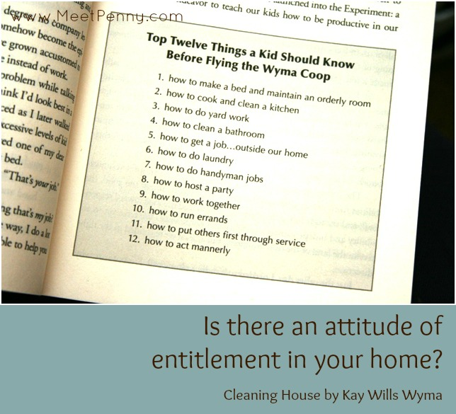 Rid your home of the attitude of entitlement by teaching your children the basic skills they need before they leave home with this 12-Month Plan by Kay Wills Wyma. Cleaning House review and giveaway #mommytimeparty