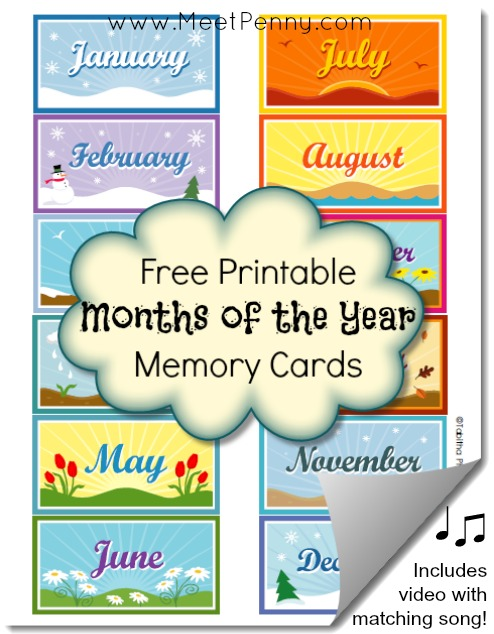 Number Names Worksheets days of the week printable : Free Printable Months of the Year Memory Cards - Meet Penny