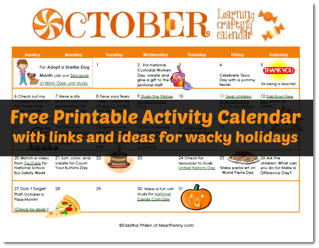 Free Printable October Activity Calendar for Wacky Days (and Linky)