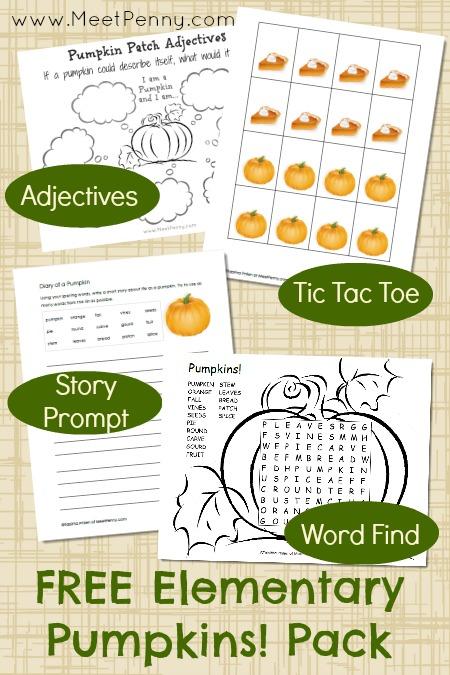 free elementary pumpkin printables