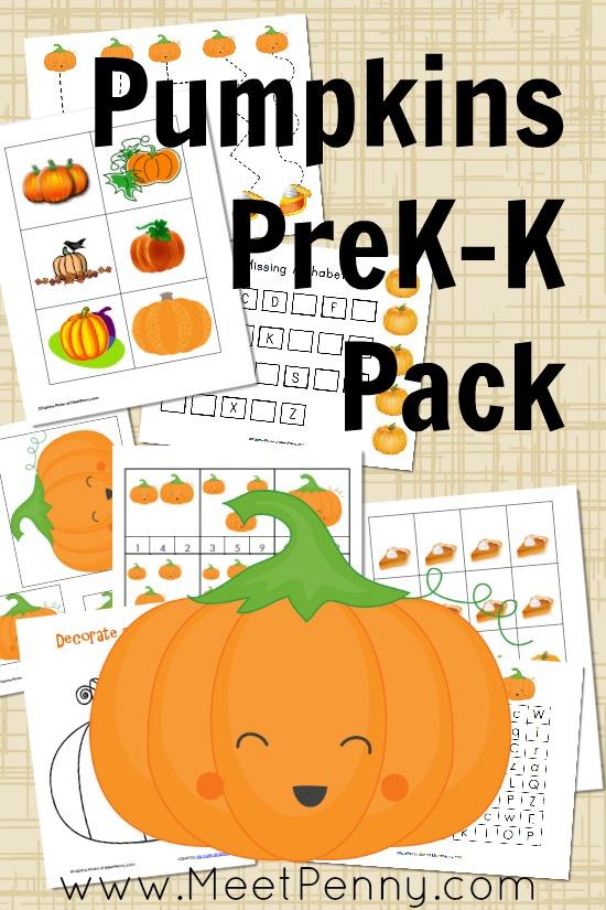 pumpkins prek-k printable pack