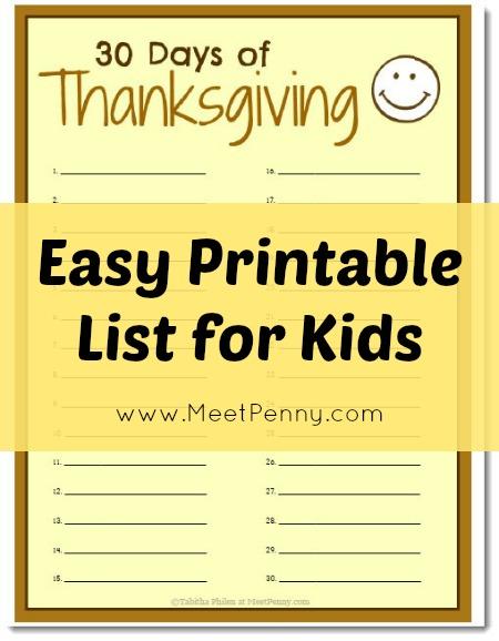 30 Days of Thanksgiving Kids