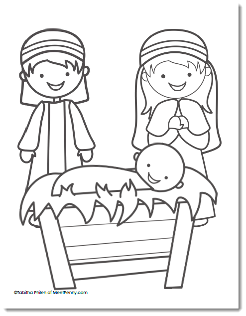 Free Nativity Coloring Page - Meet Penny