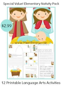 A sweet Nativity language arts pack for early elementary.