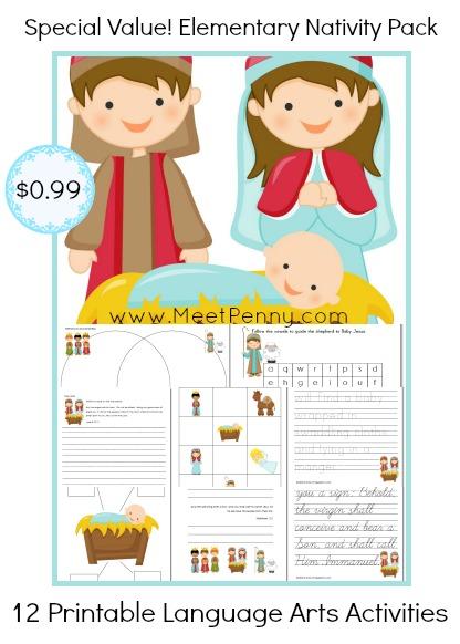 Nativity Language Arts Printable Activity Pack