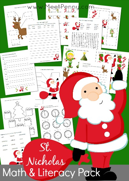Santa or St Nicholas Math Literacy Printable Pack - Free for a limited time. Includes 19 activities perfect for early elementary students.