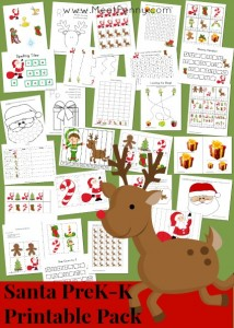 Santa-themed preschool printable activity pack with over 25 activities. Free for Premium Members or just $3.99