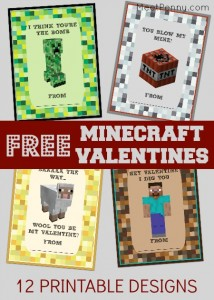 Free printable minecraft Valentines Day cards for kids. 12 different designs.