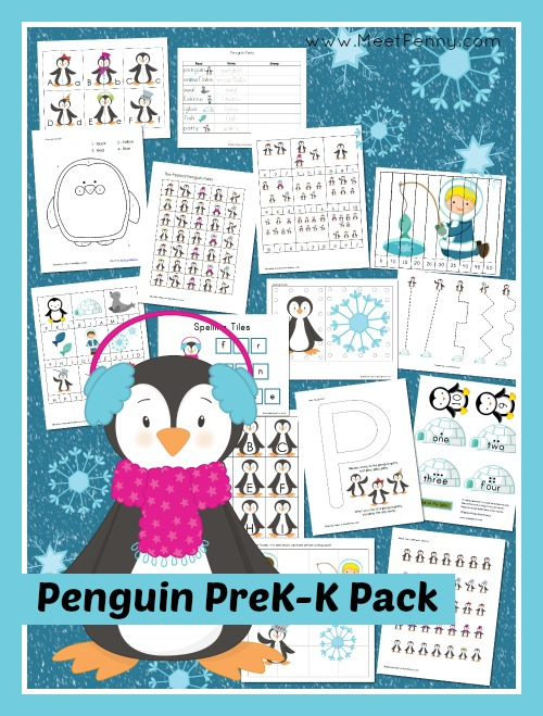 Penguin Prek-K Printable Pack with 32+ activities in over 50 pages. Free for a limited time. Hurry!