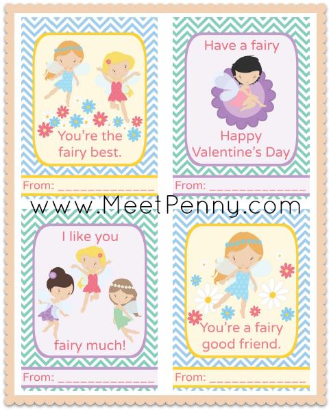 Free Printable Fairies Valentine's Day Cards