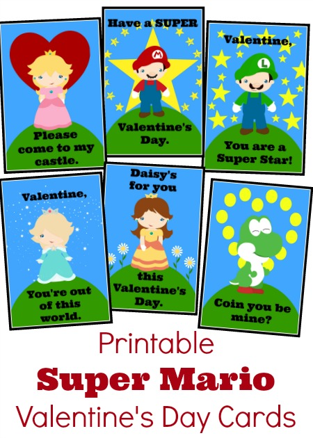 Free printable Super Mario Bros Inspired Valentines Day Cards - Just create a free account, download, and print.