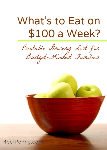 $100 Grocery List for a Week